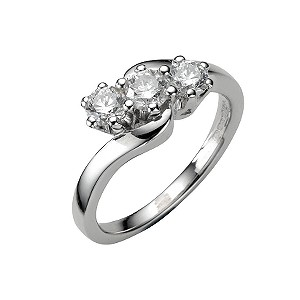 18ct white gold three quarter carat diamond three stone ring - Product number 4336275