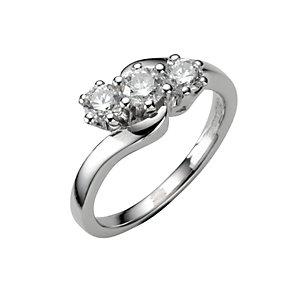 18ct white gold three quarter carat diamond three stone ring - Product number 4336275