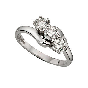 18ct white gold one carat diamond three stone ring - Product number 4336410