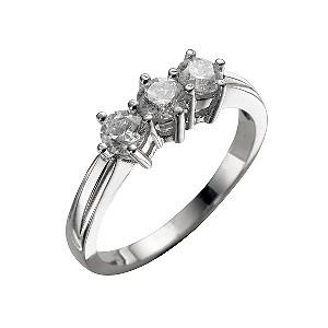 18ct white gold three quarter carat diamond three stone ring - Product number 4336968