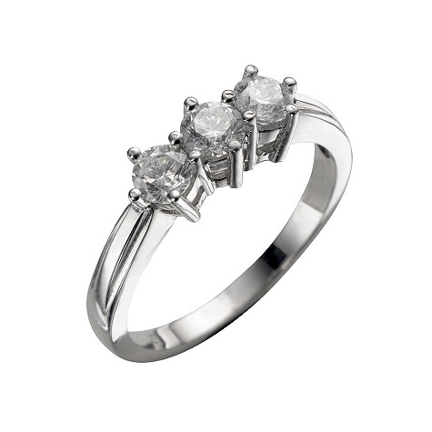 18ct white gold three quarter carat diamond three stone ring