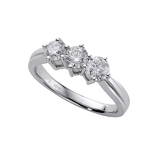 18ct white gold one carat diamond three stone ring - Product number 4337182