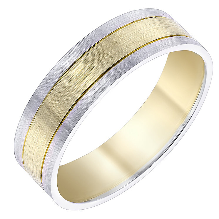 Men's 9ct Yellow And White Gold 6mm Band - Product number 4338804