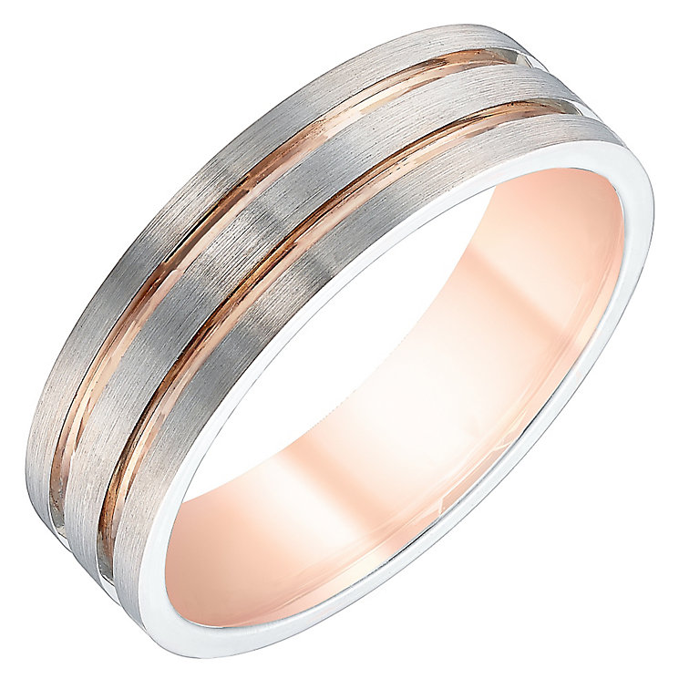 Men's Palladium & 9ct Rose Gold 6mm Band - Product number 4340264