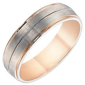 Men's Palladium & 9ct Rose Gold 6mm Band - Product number 4340507
