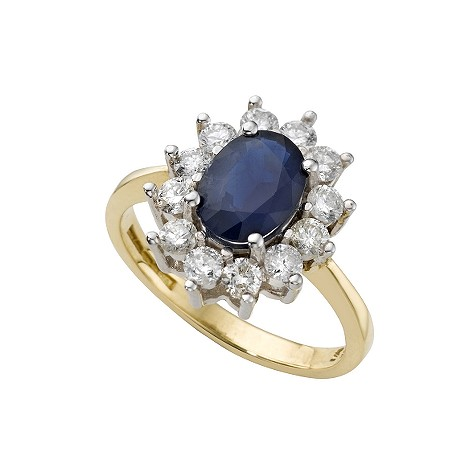 18ct gold sapphire and two third carat diamond ring