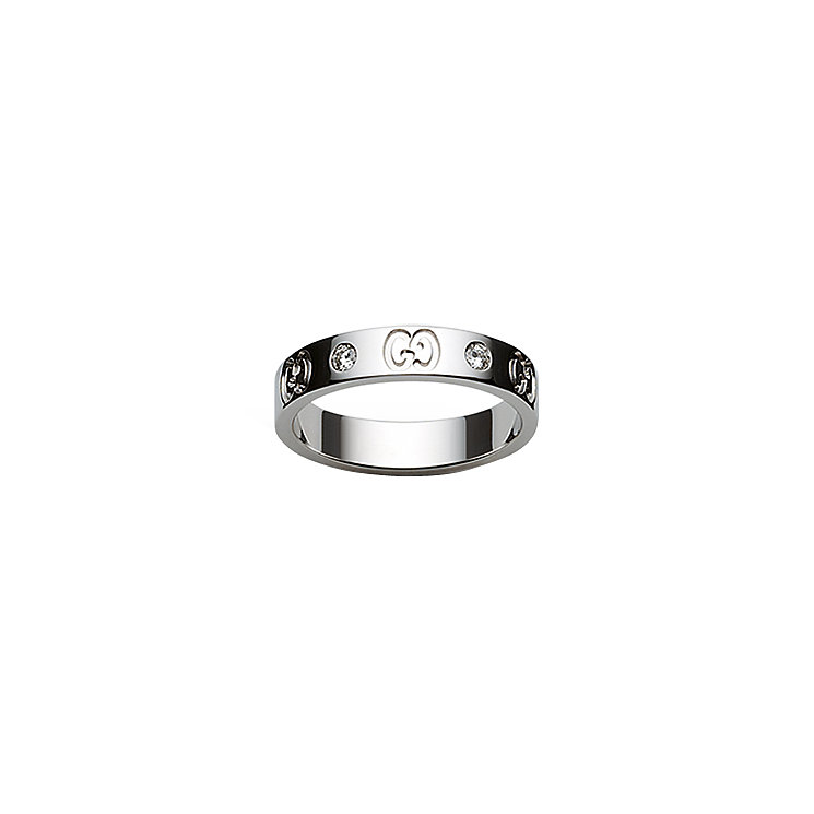 Gucci 18ct white gold & diamond slim GG ring - size Q-R - Product number 4349393