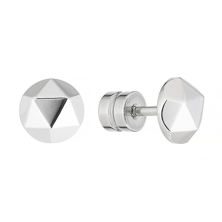 Stainless Steel Faceted Stud Earrings - Product number 4357515