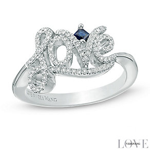 Vera Wang Silver 0.18ct Diamond and Sapphire Love Ring - Product number 4358449