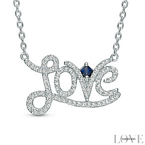 Vera Wang Silver 0.18ct Diamond and Sapphire Love Necklace - Product number 4358465