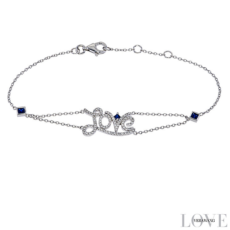 Vera Wang Silver 0.18ct Diamond & Sapphire Love Bracelet - Product number 4358481