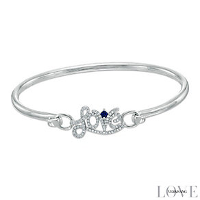 Vera Wang Silver 0.18ct Diamond and Sapphire Love Bangle - Product number 4358503