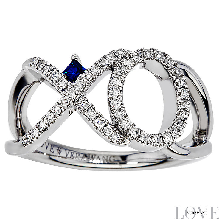 Vera Wang Silver 0.18ct Diamond & Sapphire Xo Ring - Product number 4358538