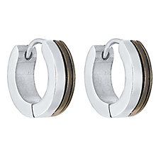 Men's Stainless Steel Half Black Hoop Earrings - Product number 4358546