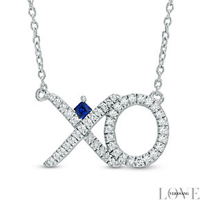 Vera Wang Silver 0.18ct Diamond and Sapphire Necklace - Product number 4358554