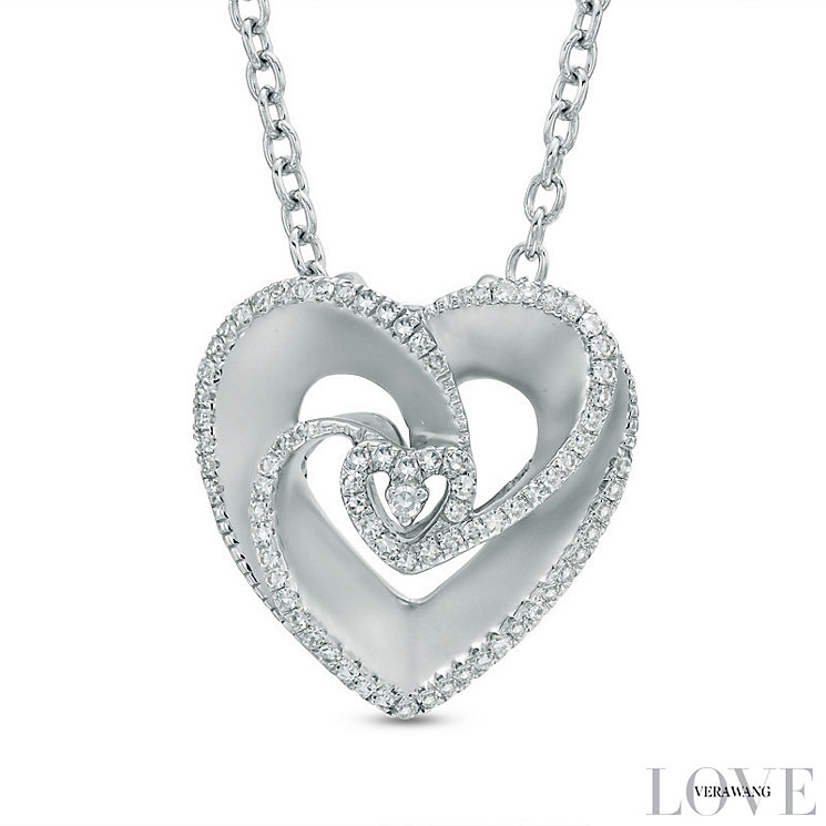 Vera Wang Silver 0.18ct Diamond and Sapphire Heart Pendant - Product number 4358570