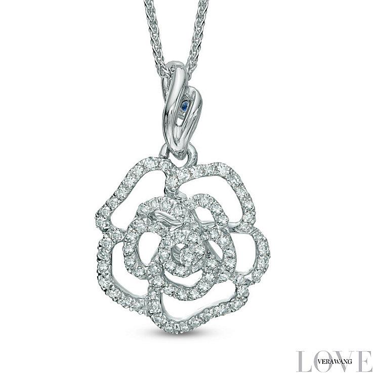 Vera Wang 14ct White Gold 0.23ct Diamond & Sapphire Pendant - Product number 4358619