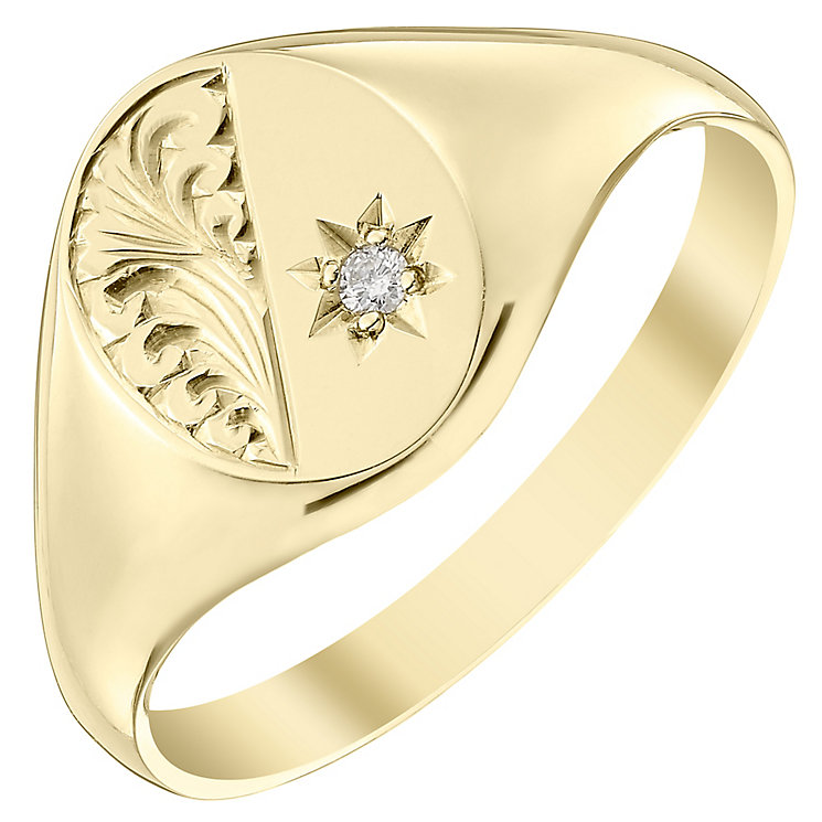 9ct Gold Hand Engraved Diamond Set Oval Signet Ring - Product number 4364910