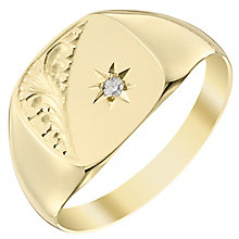 9ct Gold Hand Engraved Diamond Set Cushion Signet Ring - Product number 4365062