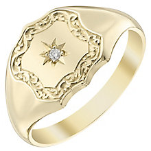 9ct Gold Hand Engraved Diamond Set Shield Signet Ring - Product number 4365194