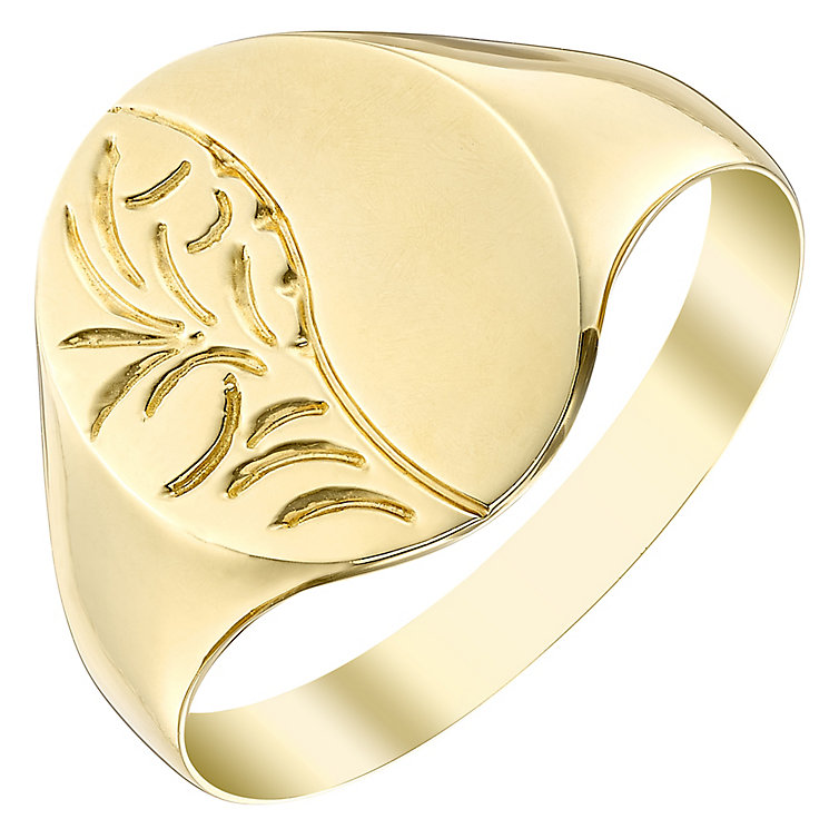 9ct Gold Oval Engraved Signet Ring - Product number 4365860