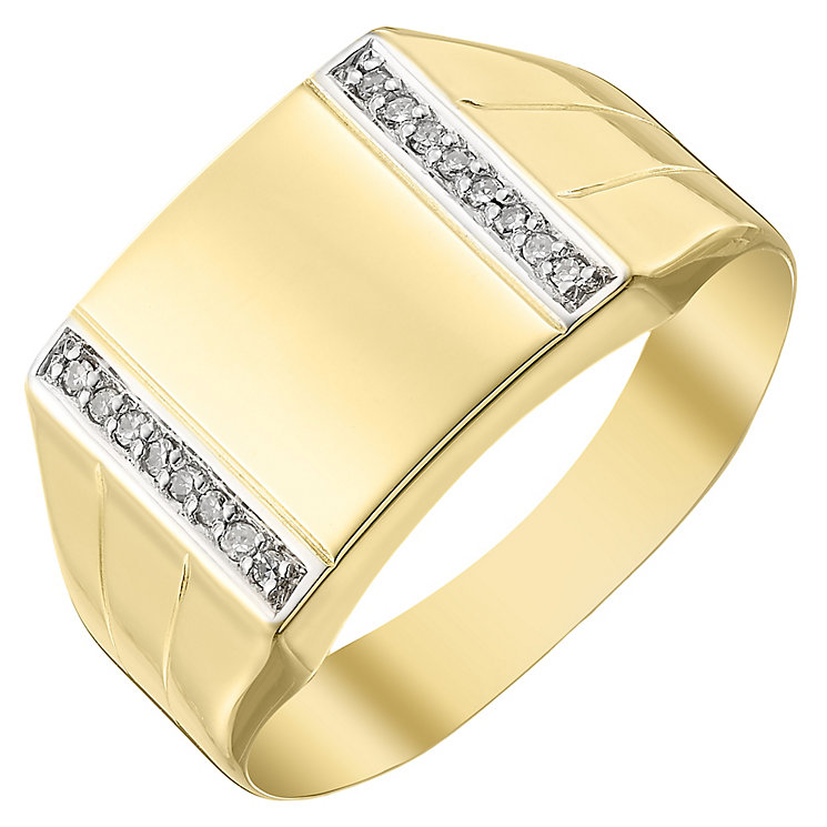 9ct Gold Diamond Set Square Signet Ring - Product number 4367634