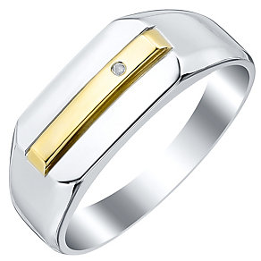 Sterling Silver & 9ct Gold Diamond Set Ring - Product number 4368347