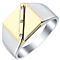 Sterling Silver & 9ct Gold Diamond Set Square Signet Ring - Product number 4368622