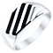 Sterling Silver & Onyx Striped Ring - Product number 4368789