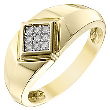 9ct Gold 0.10 Carat Diamond Signet Ring - Product number 4369629