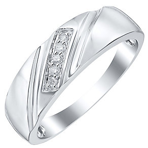 9ct White Gold Diamond Set Diagonal Detail Ring - Product number 4369769