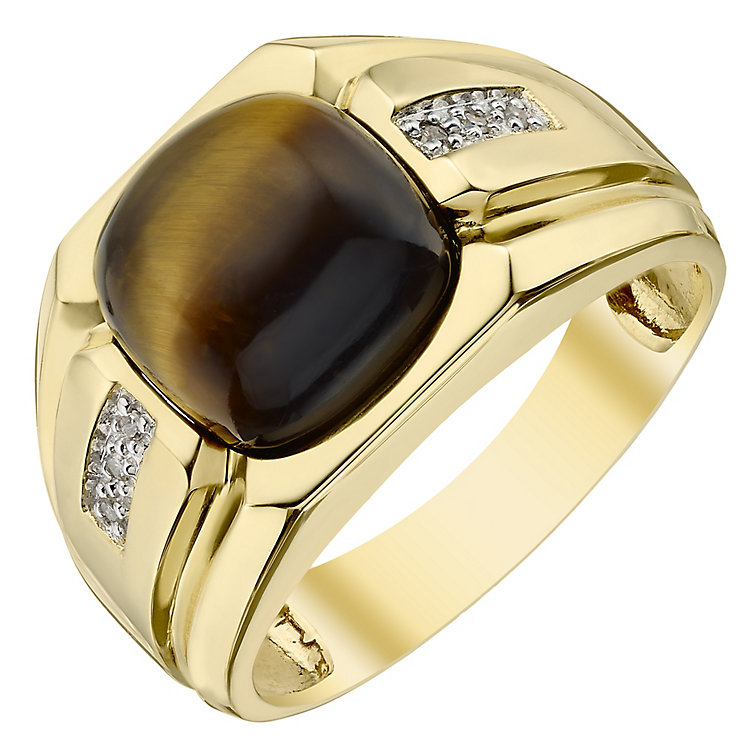 9ct Gold Diamond & Tiger Eye Ring - Product number 4370120