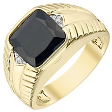 9ct Gold Diamond & Onyx Signet Ring - Product number 4370279