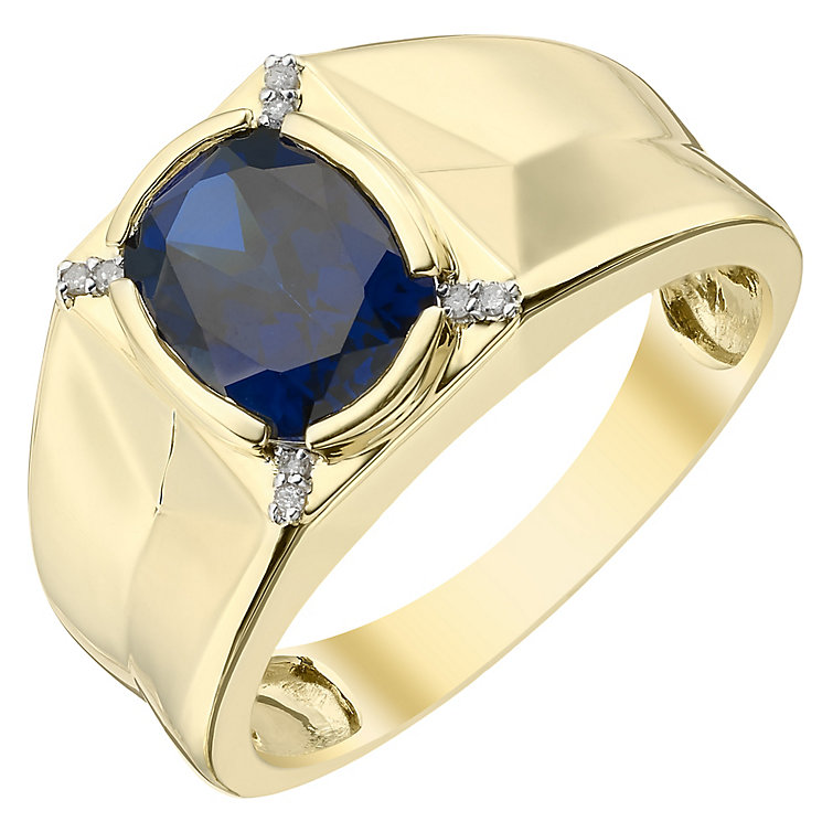 9ct Gold Diamond & Created Sapphire Ring - Product number 4370406