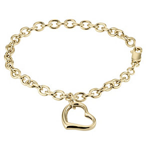 9ct Gold Belcher Heart Bracelet - Product number 4370759