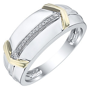 Sterling Silver & 9ct Gold Diamond Set Ring - Product number 4370953