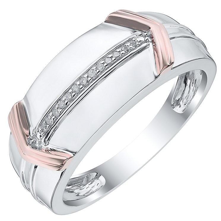 Sterling Silver & 9ct Rose Gold Diamond Set Ring - Product number 4371321