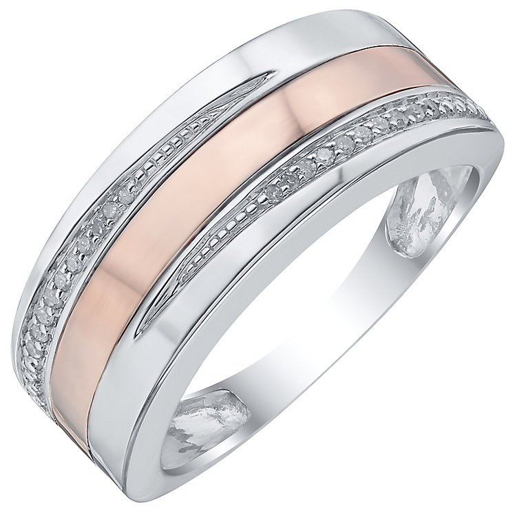 Sterling Silver & 9ct Rose Gold Diamond Set Ring - Product number 4371712