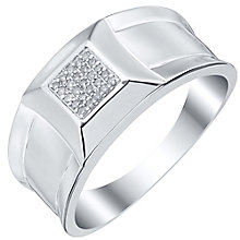 Sterling Silver Diamond Set Square Signet Ring - Product number 4372107