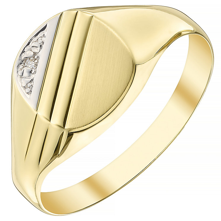 9ct Gold Diamond Set Cushion Signet Ring - Product number 4372352