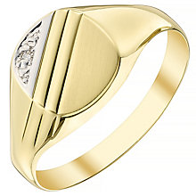 9ct Gold Diamond Set Cushion Signet Ring - Product number 4372352