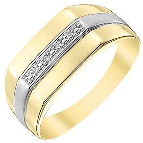 9ct Gold Diamond Set Rectangular Signet Ring - Product number 4373022