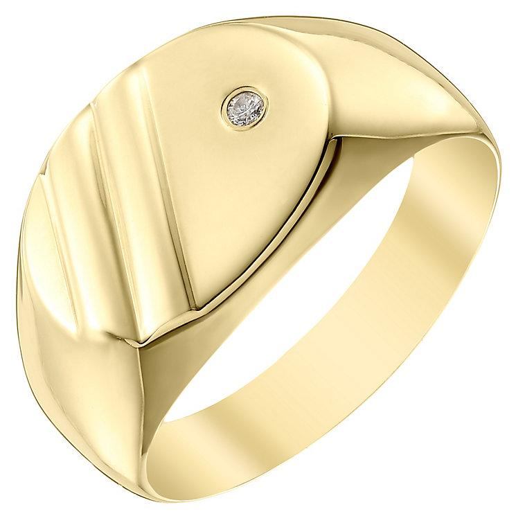 9ct Gold Diamond Set Oval Signet Ring - Product number 4373286