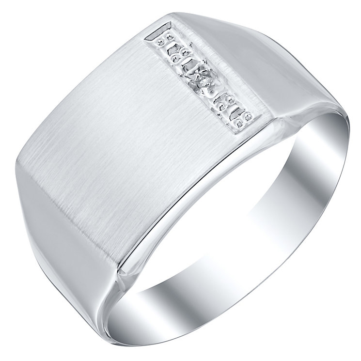 9ct White Gold Diamond Set Square Signet Ring - Product number 4373405