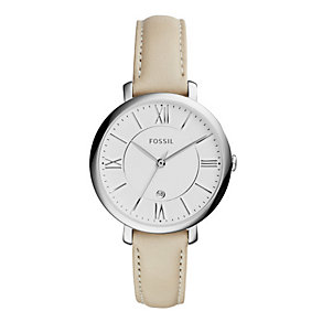 Fossil Jacqueline Ladies' Stainless Steel Cream Strap Watch - Product number 4375750