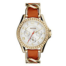 Fossil Riley Ladies' Gold Tone White Dial Strap Watch - Product number 4375769