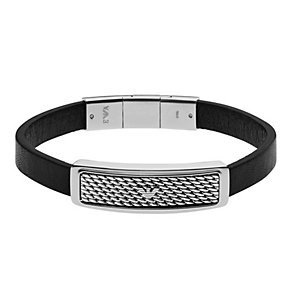 Emporio Armani Men's Stainless Steel And Leather Bracelet - Product number 4378423