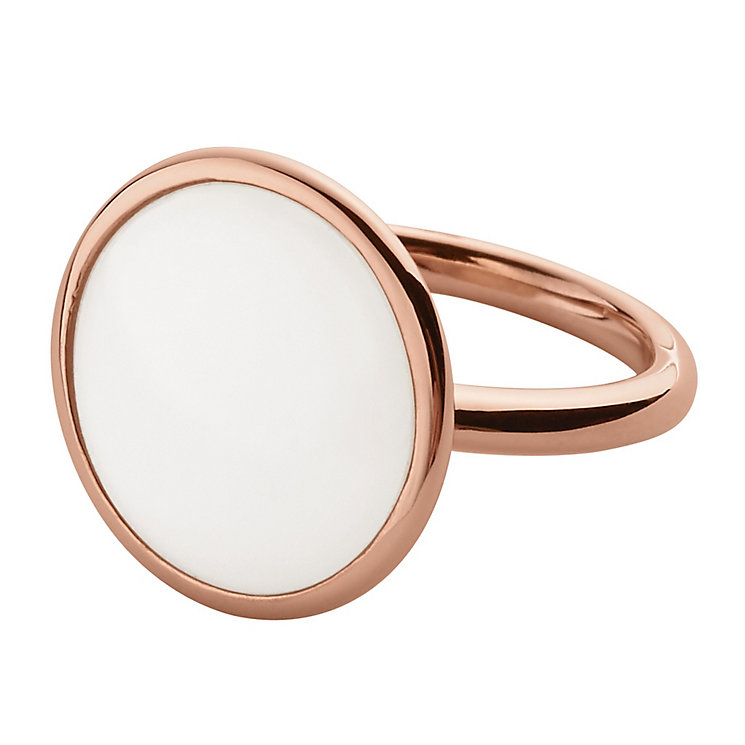 Skagen Sea Glass Rose Gold Tone Ring Size M.5 - Product number 4380851