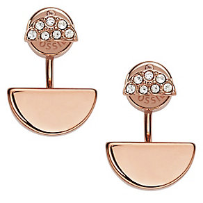 Fossil Rose Gold Tone Stone Set Drop Earrings - Product number 4380924