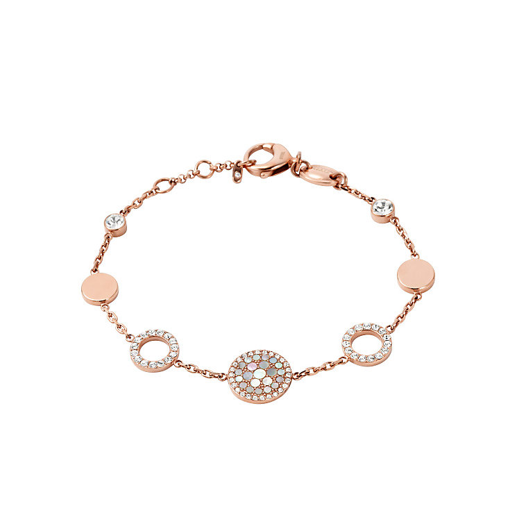 Fossil Rose Gold Tone Stone Set Bracelet - Product number 4380991